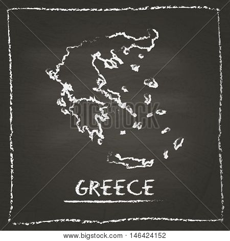 Greece Outline Vector Map Hand Drawn With Chalk On A Blackboard. Chalkboard Scribble In Childish Sty