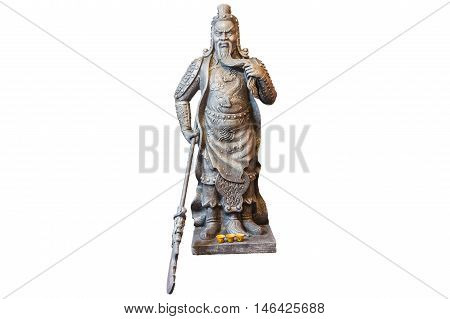 Guan Yu statue isolated on white background
