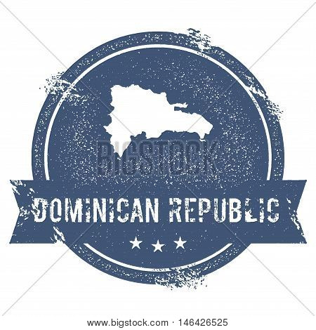 Dominican Republic Mark. Travel Rubber Stamp With The Name And Map Of Dominican Republic, Vector Ill