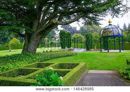 Dunedin, New Zealand - Febr 10, 2015: Garden At Larnach Castle.