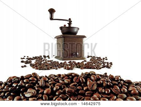 Old Coffee Grinder With Coffee Grains