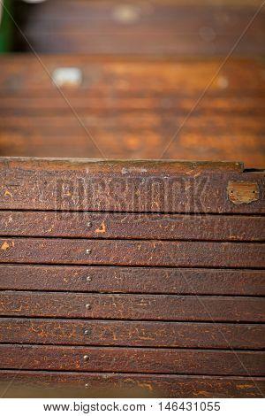 old railway wagon interior vintage. Wood texture