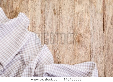 Tablecloth On A  Wooden Table
