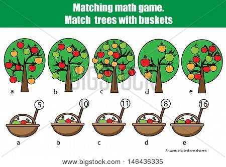 Counting educational children game, kids activity. Mathematics counting matching game. Learning numbers, addition theme