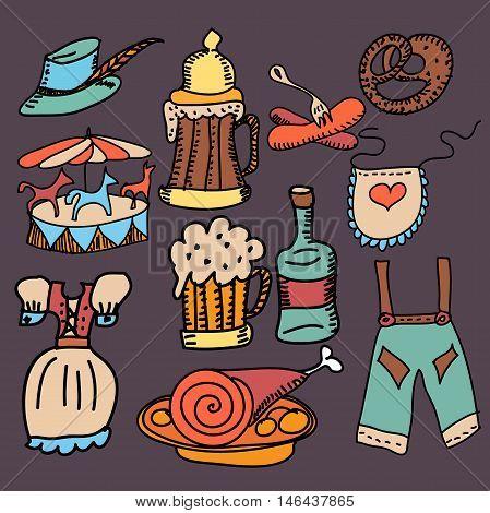 Oktoberfest themed vector set. Bavarian costumes - drindl and lederhosen,carousel, schnapps, pretzel, bratwurst sausage, beer. Hand drawn sketches.