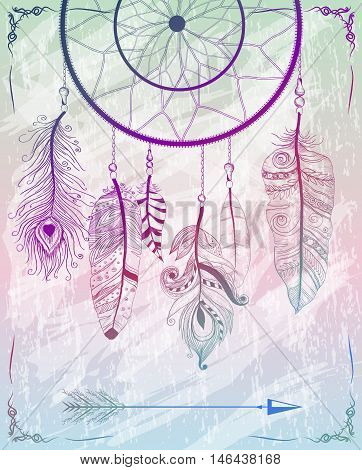 Decorative Background With Native Dream Catcher