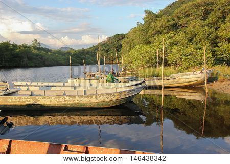 Fishing Boat, Canoa De Pesca. Background.