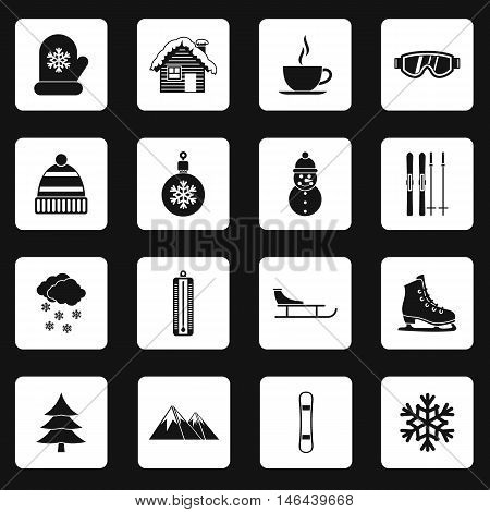 Winter icons set in simple style. Winter sport set collection vector illustration