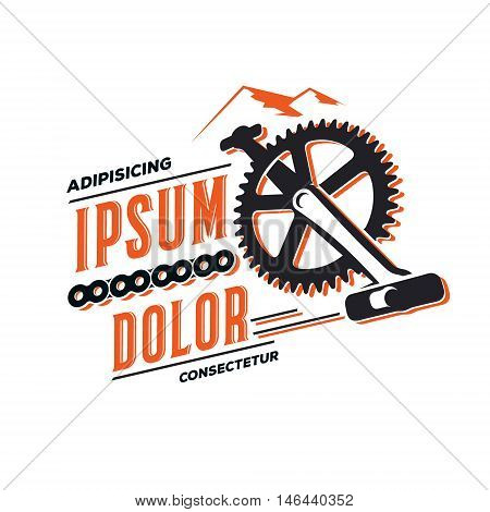 Cycling emblem, logo design tourism outdoor, bicycle sprocket.