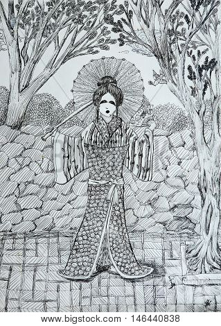 geisha with fan in the japanese garden drawing with thin black liner lines