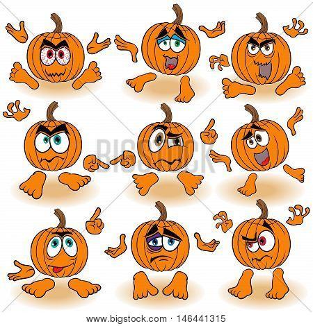 Funny Gesticulating Orange Pumpkins