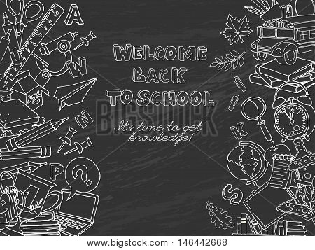 Back To School Frame Border Pattern Of Kids Doodles With Bus, Books, Computer, Blackboard And World