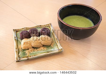 Mochi Japan Rice Cake With Soybean Flour And Green Tea