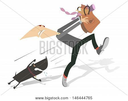 Aggressive dog. Man with a paper bag full of sausages and chicken legs runs away from the hungry and angry dog