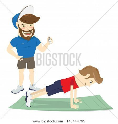 Bearded Fitness Personal Trainer Instructor And Funny Sportsman Doing Abs Exercises, Push-ups Or Pla