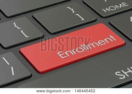 enrollment button red hot key on keyboard. 3D rendering