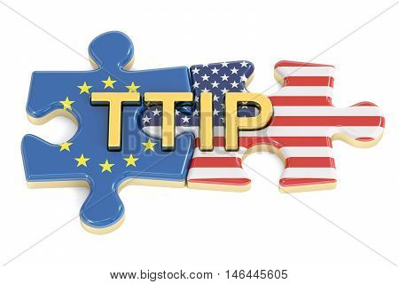 Transatlantic Trade and Investment Partnership TTIP concept 3D rendering