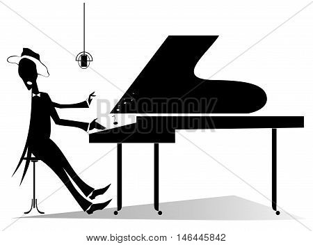Pianist original silhouette. Pianist is playing music