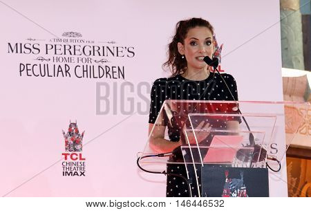 Winona Ryder at the Tim Burton Hand And Footprint Ceremony held at the TCL Chinese Theater in Hollywood, USA on September 8, 2016.