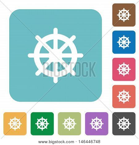 Flat steering wheel icons on rounded square color backgrounds.