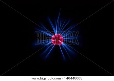 Electric Plasma Ball on Dark Background. Plasma lamp