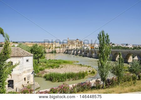 The View at the historic center of Cordoba with the Puerta del Puente (Spanish: