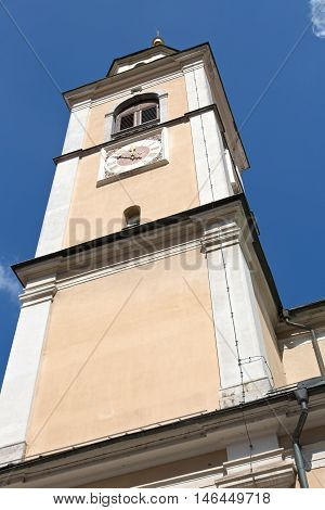 Ljubljana, Slovenia, St. Nicholas cathedral steeple with clock