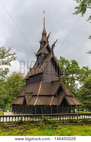 Old Viking Fantoft Stave Church in Bergen Norway