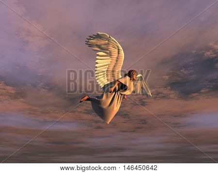 3d illustration of a winged woman flying