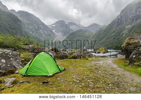Tent in the wilderness near Buerbreen Glacier Norway