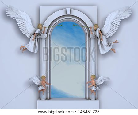 3d illustration of a portal with angels and cherubs