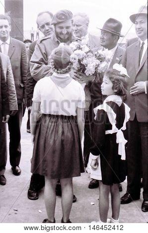 Yangiyer Uzbekistan - May 10 1963: Pioneer girls meet Fidel.