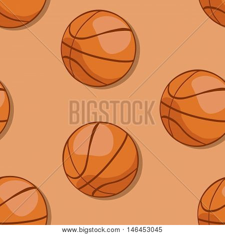 Vector Seamless Pattern Of Basketball Balls  On Brown Background