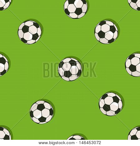 Vector Seamless Pattern Of Soccer Balls On Green Background