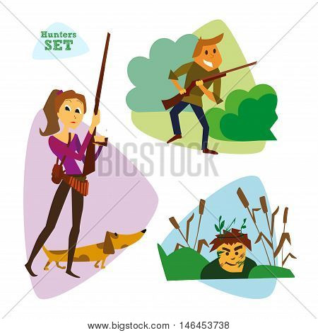 Funny cartoon hunters set. Hunter cartoon set. Different characters hunters with weapons and animals vector illustration. Eps 10