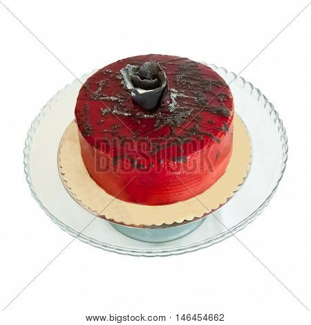 Red Jelly Cake On A White Backgrond