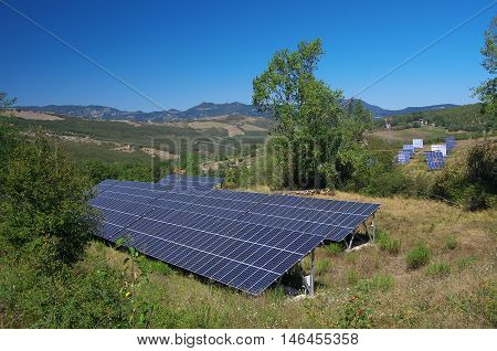 Solar panels in the Italian countryside Appennines