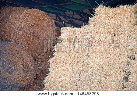 A photograph of both round and square hay bales stored in a barn