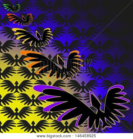Flock of birds in the moonlight. Bird flying through the clouds to the moon in the direction of the holiday Halloween.
