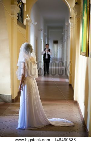 The Bride eagerly waiting for her groom