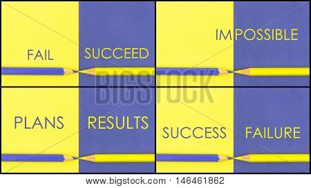 Motivational Contrast Concepts Over Yellow And Violet Coloured Paper