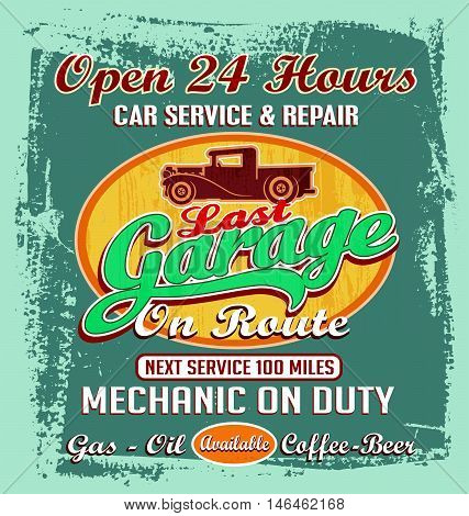vintage garage vector illustration for T-shirt printed and posters