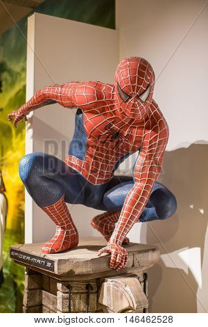 KRAKOW, POLAND - FEB 9, 2016: Spider-Man wax figure of Polonia Wax Museum at Main Market Square. The Wax Museum was opened in 2016, inspired by the organization in Krakow World Youth Day.