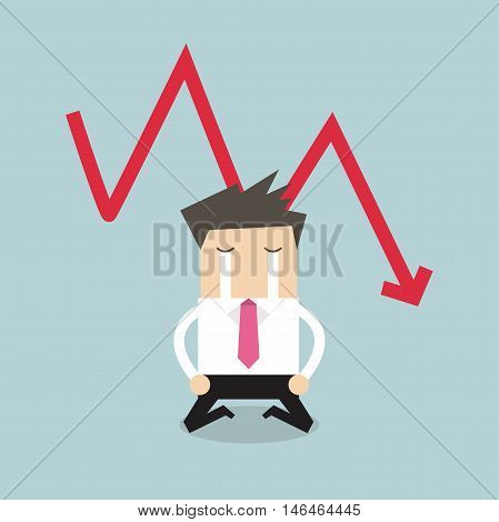 Sad businessman crying with falling down red arrow graph financial crisis