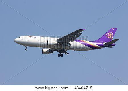 CHIANGMAI THAILAND - FEBRUARY 26 2014: HS-TAX Airbus A300-600 of Thai airway. Landing to Chiangmai airport from Bangkok Suvarnabhumi.