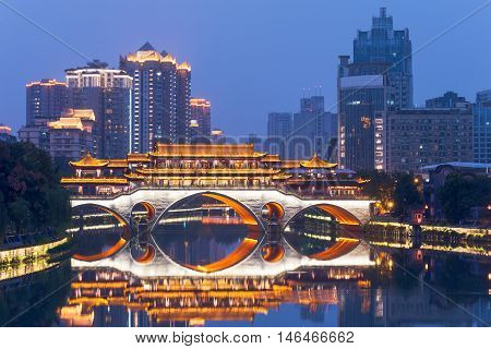 Chengdu Anshun bridge and Jinjiang river at blue hour Sichuan Province China