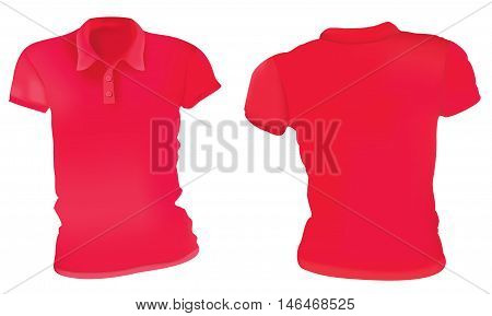 Vector illustration of blank red female polo t-shirt template front and back design isolated on white