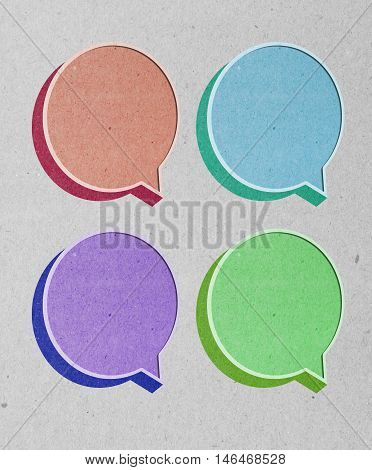talk box 3D recycled red paper craft stick on white background