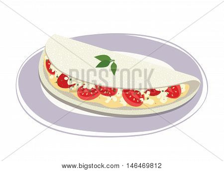 Tapioca filled with cheese and cherry tomato on a plate