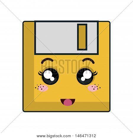 kawaii cartoon diskette with happy face. vector illustration